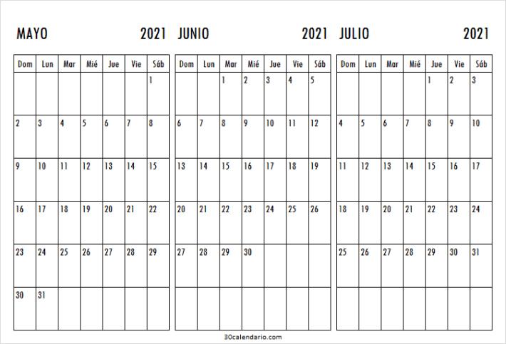 Calendario Mayo a Julio 2021 Mensual
