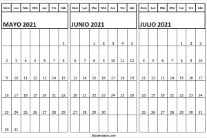 Calendario Mayo a Julio 2021 PNG