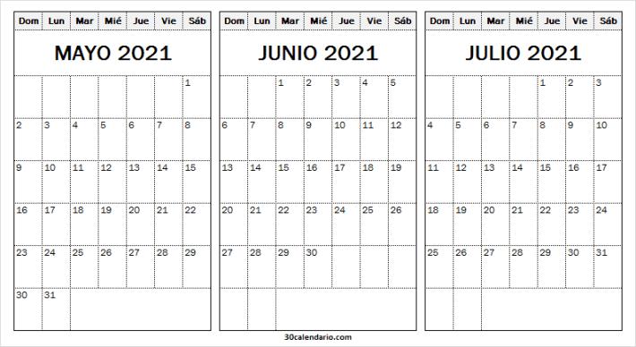Calendario Mayo a Julio 2021 Pdf