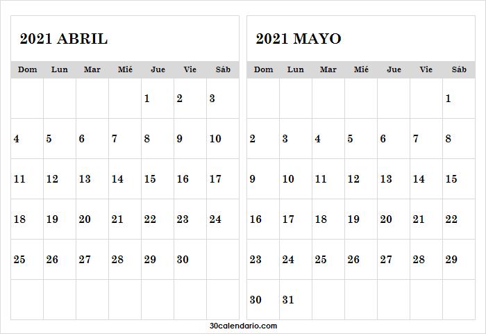 Calendario Mes Abril Mayo 2021 Venezuela