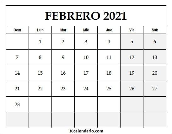 Calendario Mes De Febrero 2021 Argentina