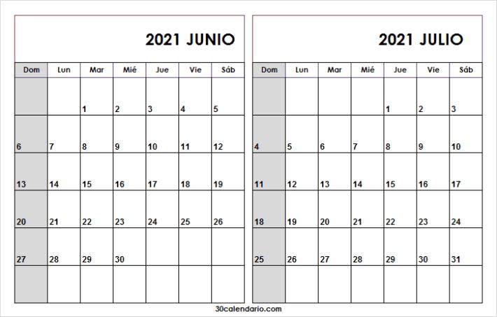 Calendario Para Rellenar Junio Julio 2021