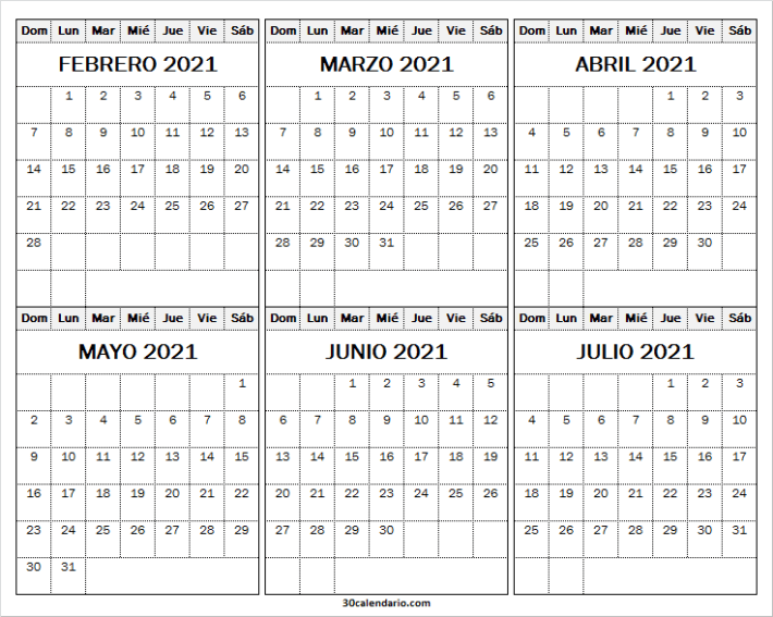 Febrero a Julio 2021 Calendario Excel