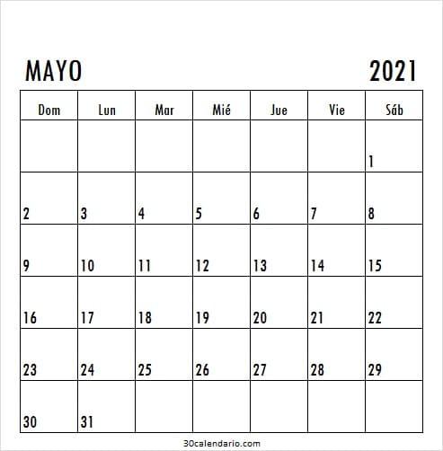 Imprimir Calendario Mayo 2021