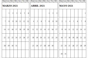 Imprimir Calendario Mes Marzo a Mayo 2021