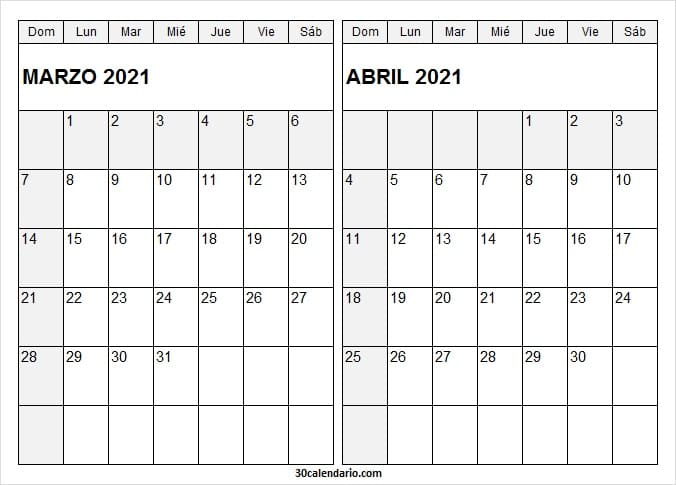 Marzo Abril 2021 Calendario Chile