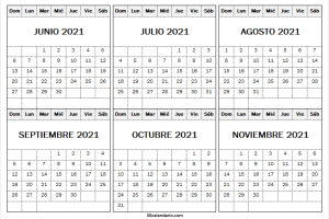 Mes De Junio a Noviembre Calendario 2021