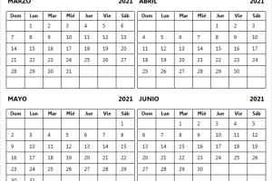 Ver Calendario Marzo a Junio 2021