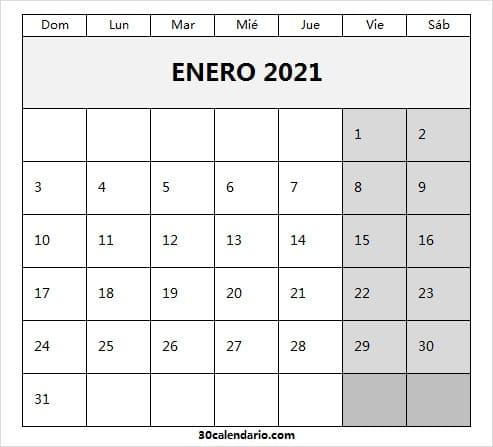 Calendario Blanco Enero 2021