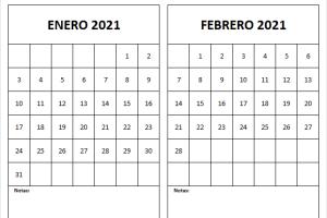 Calendario Blanco Enero Febrero 2021