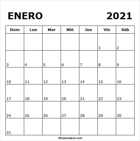Calendario De Enero De 2021 Para Imprimir