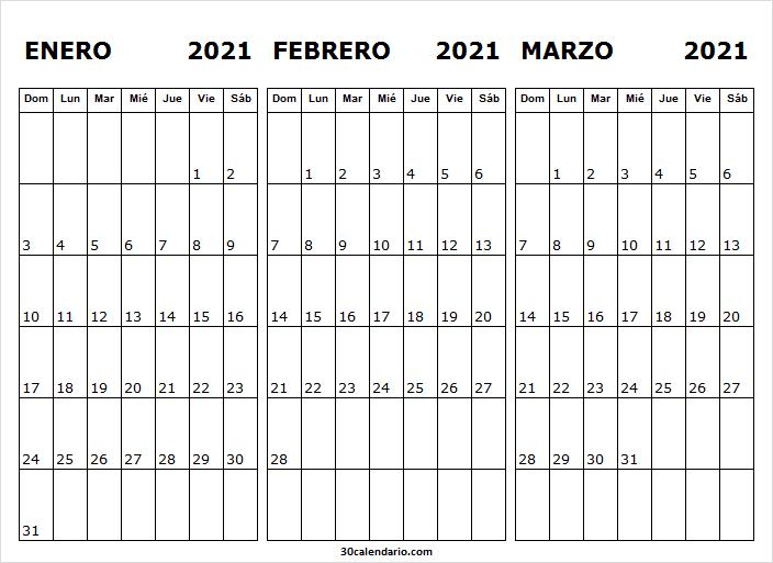 Calendario De Enero a Marzo De 2021