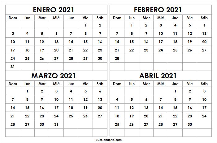 Calendario En Blanco Enero a Abril 2021 Word