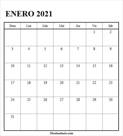 Calendario Enero 2021 En Word