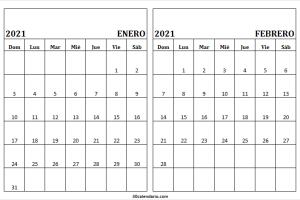 Calendario Enero Febrero 2021 Blanco