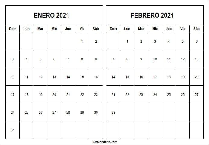 Calendario Enero Febrero 2021 En Word
