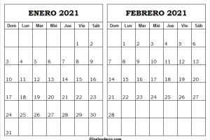 Calendario Enero Febrero 2021 Ingles