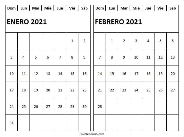 Calendario Enero Febrero 2021 Para Imprimir Gratis