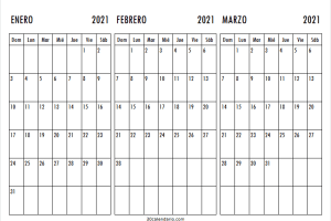 Calendario Enero a Marzo 2021 Chile