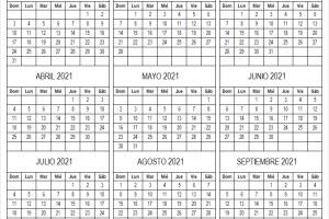 Calendario Enero a Septiembre 2021 En Colombia