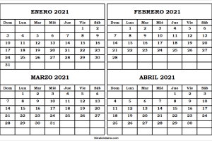Calendario Mes Enero A Abril 2021 Venezuela