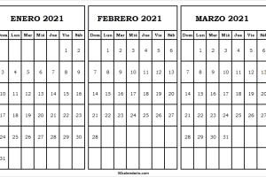 Calendario Mes Enero a Marzo 2021 Venezuela