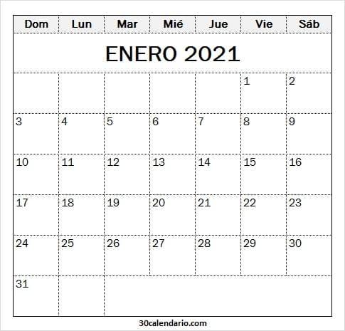 Enero 2021 Calendario Escolar