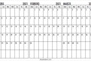Enero a Marzo 2021 Calendario Para Imprimir