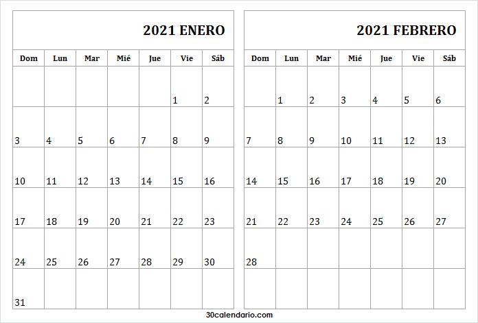 Mes De Enero Febrero Calendario 2021