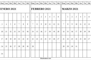 Mes De Enero a Marzo Calendario 2021