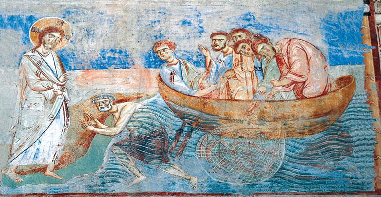Gesù risorto e gli apostoli sul lago di Tiberiade, affresco della Basilica di Sant'Angelo in Formis, Capua (Caserta)