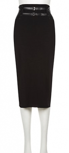 Kelly Brook Black Double Leather-Look Strap High Waisted Midi Skirt £24.99