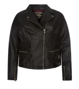 Inspire Black Leather Buckle Hem Biker Jacket £35 at Newlook