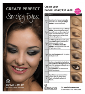 A picture tutorial by Living Nature showing how to create a smokey eye