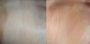 Paul & Joe Silky Smooth Foundation UV in (Left)101 Cameo and (Right)102 Fresh Swatches Blended - Left image with flash, Right image without