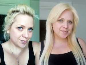 L'Oreal Feria Colour Super Platinum L02 Results - (Left) Before, (Right) After