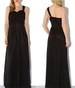 New Look Black One Shoulder Sweetheart Maxi Dress