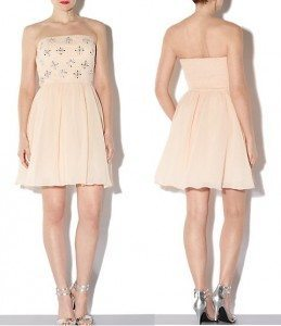 New Look Shell Pink Bandeau Star Embellished Prom Dress