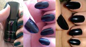No7 Stay Perfect Nail Colour in Black Patent. Left With Bottle, Middle no flash, Right with Flash