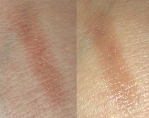 Wild About Beauty Nutrilips Lipstick in Bobby 02 swatch (Left) Without Flash (Right) With Flash