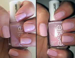 Essie nail polish in Muchi, Muchi. A beautiful Baby Pastel Pink gloss shade which can be layered up or worn with one coat for a natural finish. 3+ coats to opaque
