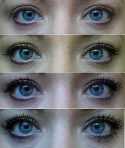 Avon Big & False Lash Volume Mascara (Top to Bottom); No Mascara, 1 coat, 2, coats, 3 coats