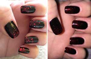 Orly FX Rockets Red Glare Nail Polish Swatch - on nails over Artdeco Art Couture in Courture Dark Queen 702 (left) without flash (right) with flash