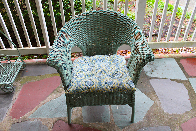 during painted wicker chair
