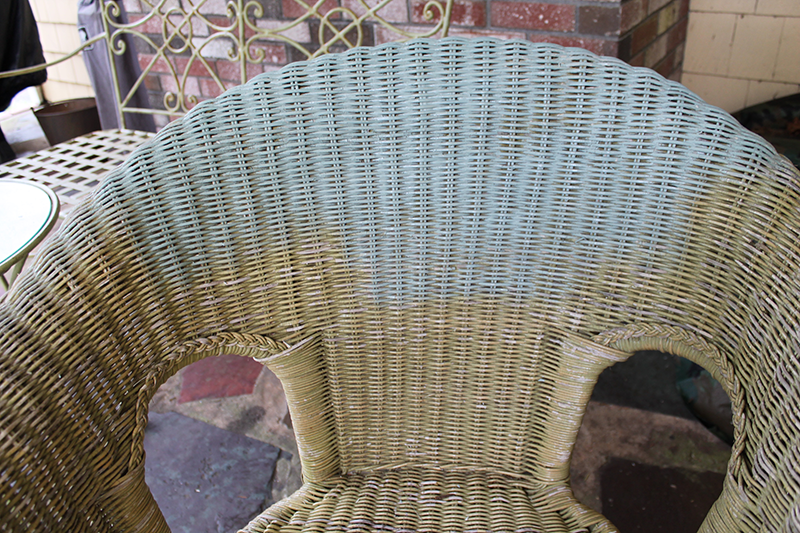 Before Progress Picture With Chalk Paint On Wicker Chair