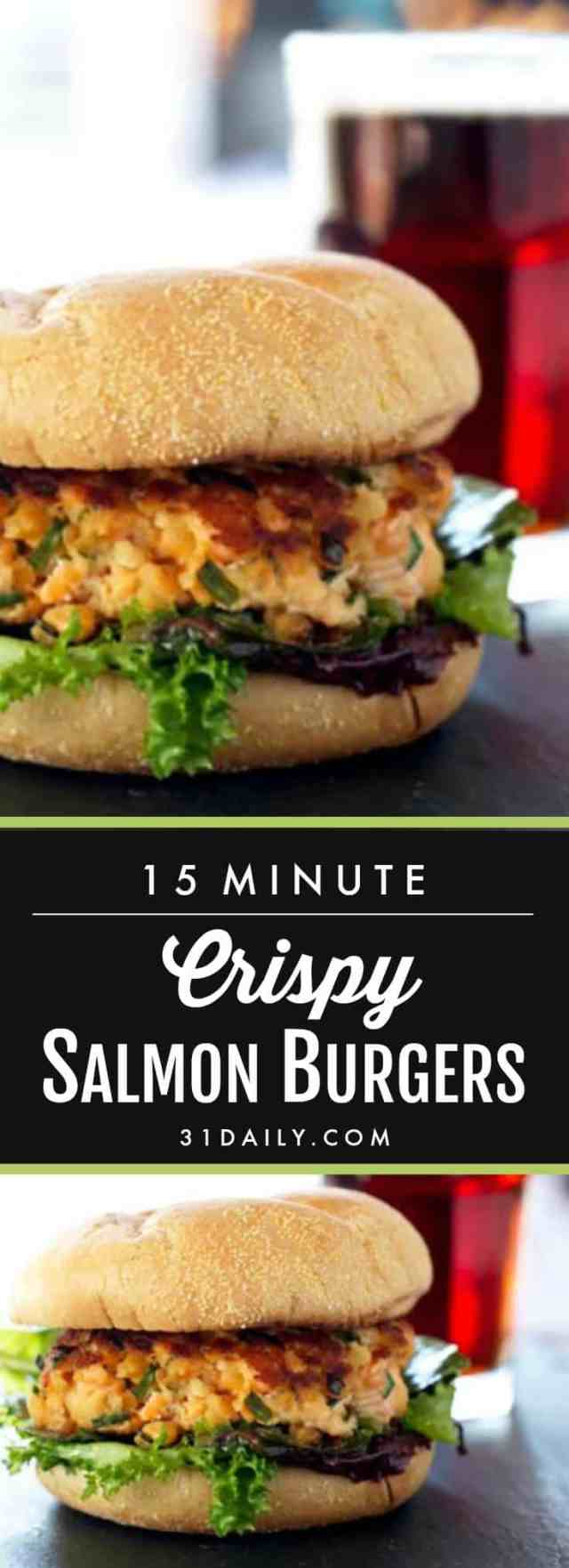 Easy Crispy Salmon Burgers in 15 Minutes or Less | 31Daily.com