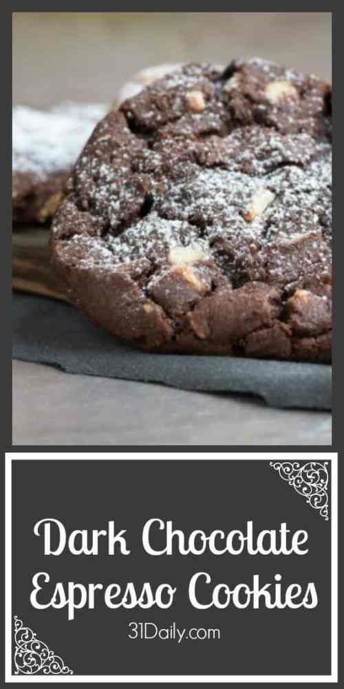 Recipe for Double Dark Chocolate Espresso Cookies at 31Daily.com