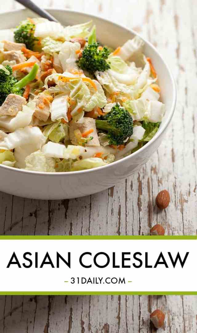 Asian Coleslaw with Chicken, Broccoli and Toasted Almonds   31Daily.com