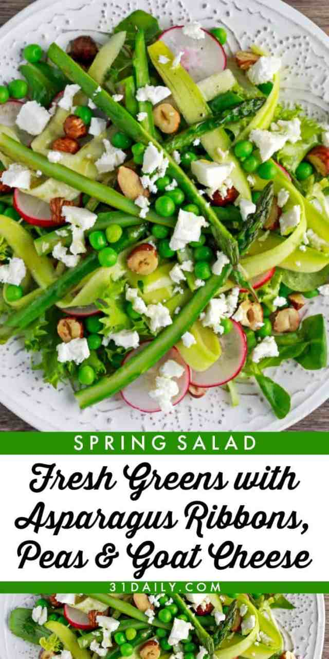 Fresh Greens with Asparagus Ribbons, Peas and Goat Cheese | 31Daily.com