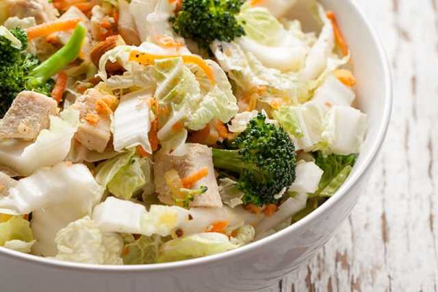 Asian Coleslaw with Chicken, Broccoli and Toasted Almonds